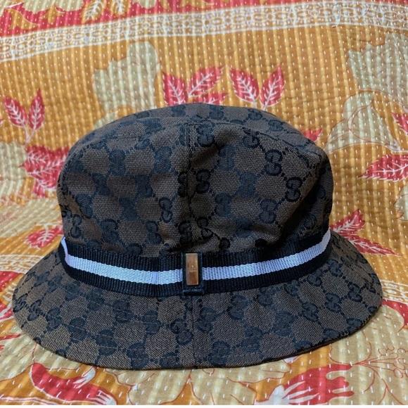 9aa3d413e Gucci Monogram Vintage Bucket Hat Brown Black